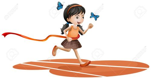 18287763-Illustration-of-a-girl-running-with-two-blue-butterflies-on-a-white-background-Stock-Vector